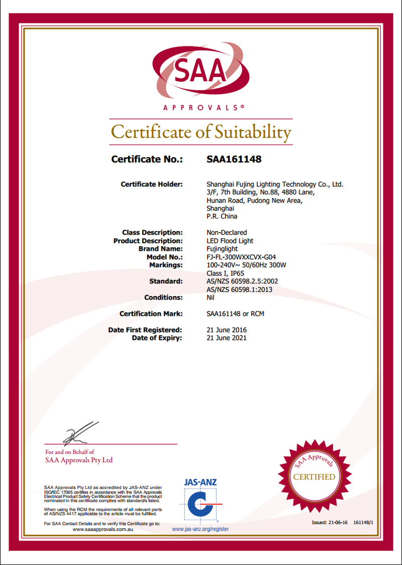 LED Flood Light SAA Certification
